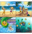 Summer fun on beach Children are playing on vector image