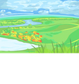 European flat landscape with river vector image