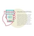 mobile shopping button line design vector image