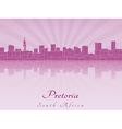Pretoria skyline in purple radiant orchid vector image