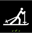 skier it is white icon vector image