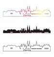 Vienna skyline linear style with rainbow vector image
