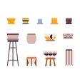 Set of retro pots and stands vector image