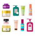 set of tubes and vials cosmetics tools for beauty vector image