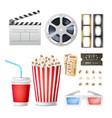 cinema movie icons set realistic popcorn 3d