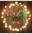 Merry Christmas candy with branches wooden bg vector image