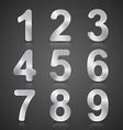 Metallic Silver Number Set vector image