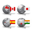 gray earth globes with designation of canada vector image