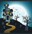 halloween background with tombs trees vector image