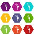 hotel key icon set color hexahedron vector image