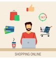 Man with laptop shopping online vector image