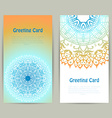 Vertical greeting orange and blue card with lace vector image