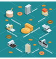 Bakery Factory Isometric Flowchart vector image