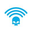 Wi-fi death wifi mortal wireless connection skull vector image