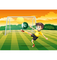 An athlete kicking the ball with the flag of vector image vector image
