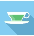 Cup of green tea icon flat style vector image