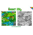 life of insects on forest clearing vector image