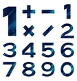 Numbers set blue space vector image