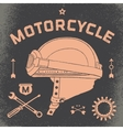 Poster of vintage race motorcycle helmet Retro vector image