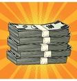 Stack of money dollar pop art retro vector image