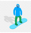 snowboarder with snowboard deck isometric icon vector image
