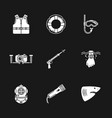 nine diving icons vector image