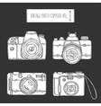 Hand drawn photo cameras set vintage vector image vector image