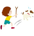 Mean boy chasing a dog vector image