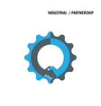 Handshake and gear abstract design vector image vector image
