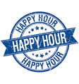 happy hour grunge retro blue isolated ribbon stamp vector image