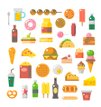Flat design of junk food set vector image