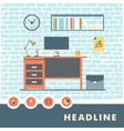 Flat icons interior items in the workroom vector image