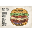 Hamburger or Burger with meat cutlet vector image