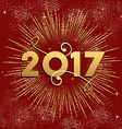 Happy New Year 2017 firework design in gold vector image