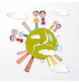 People on Green Globe vector image