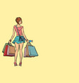 young woman with shopping bags on sale vector image