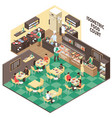 isometric fastfood restaurant interior vector image
