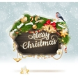 Wooden banner with Christmas Fur-tree branches vector image