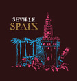 Torre del oro naval tower seville spain vector image