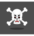 Angry skull emotion Crossbones Aggressive skeleton vector image