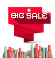 Big Sale Red Label and Skyscrapers vector image