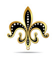 Black fleur-de-lis with a gold rim vector image