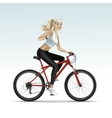 Blonde Woman Girl Female Riding a Bicycle vector image
