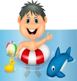 Boy cartoon floating with inflatable ring vector image