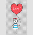 happy valentinesgirl holding heart shaped balloon vector image
