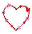 heart cute floral frame decorative vector image