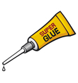 Metal tube of super glue vector image