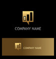 square business talk communication gold logo vector image