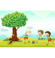 Kids playing football vector image vector image