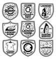 Laundry labels set With laundromat iron vector image